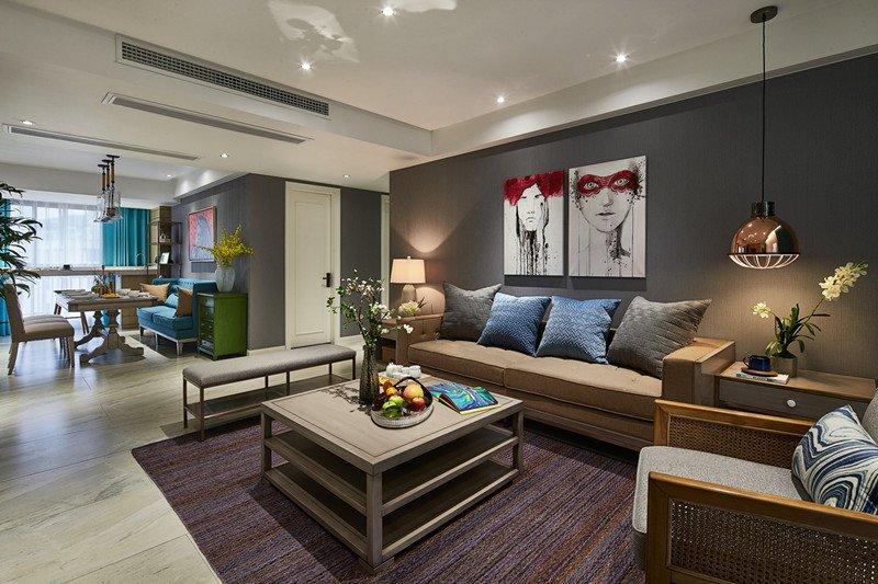 浅灰色木地板电视墙效果图大全 美式地板效果图_1
