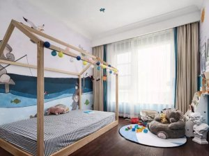 儿童房间红色地板装修效果图 美式地板装修效果图