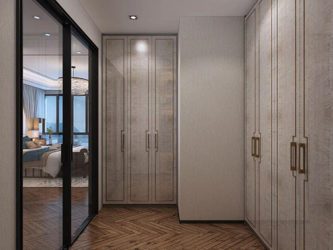 書房新中式地板裝修圖片 人字拼深灰色木地板裝修效果圖