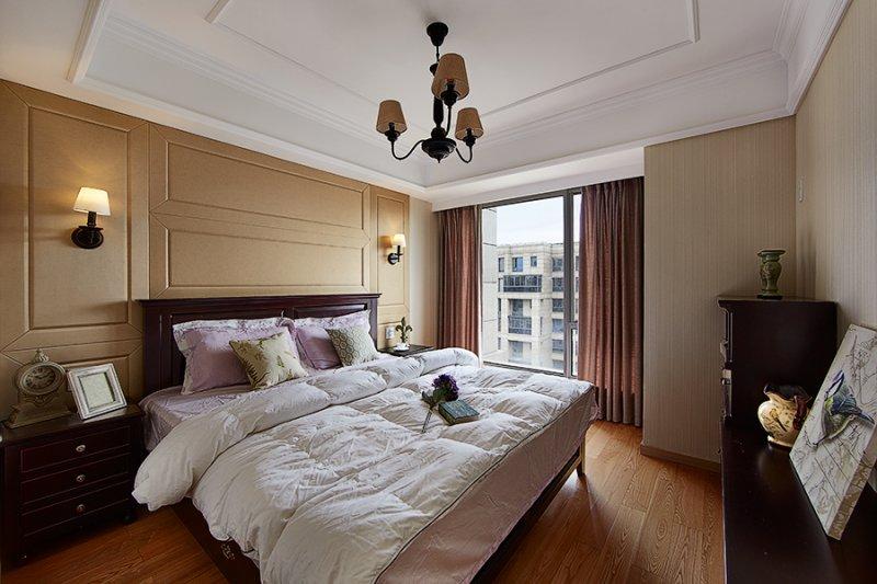 美式小户型地板装修效果图大全 卧室深色地板装修效果图_11