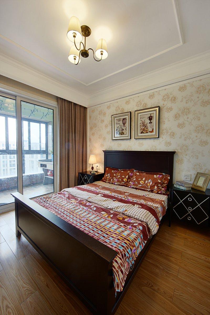 美式小户型地板装修效果图大全 卧室深色地板装修效果图_16