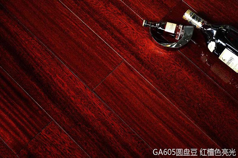 大合仓地板产品-古劳实木 GA605圆盘豆-红檀色亮光