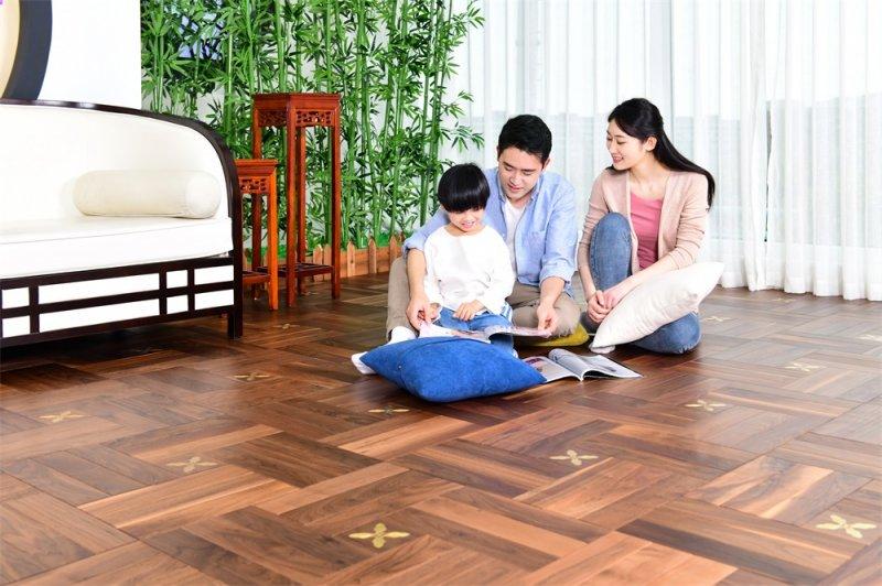 大自然地板加盟产品 实木地板木香居系列地板装修效果图