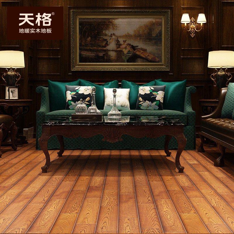 天格地暖实木地板图片  橡木纯实木地板产品效果图