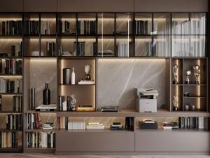 欧派地板 现代简约书柜设计效果图